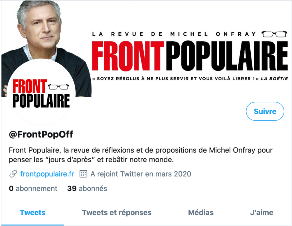 Front populaire Onfray Twitter