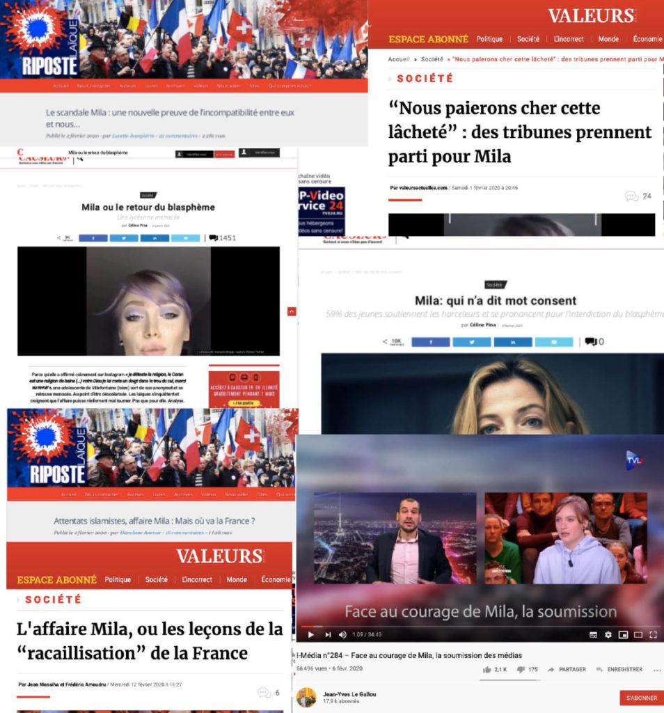 Mila et les médias d'extrême droite